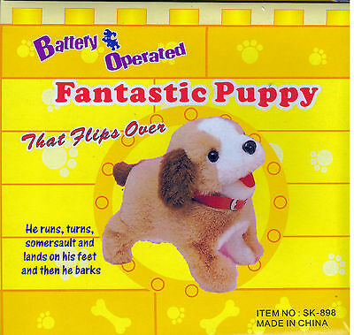 Fantastic Puppy Dog That Flips Over Battery Operated Huggable Friend Animal Toy