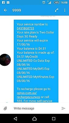 optus microsim 2 dollar day unlimited dats calls and text