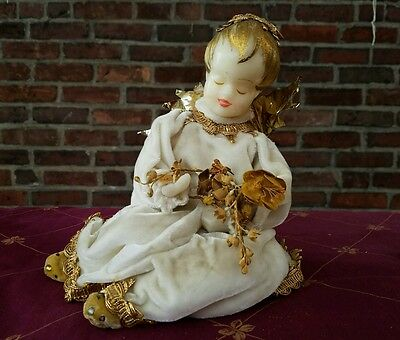 Antique Large West Germany Poseable Sitting Christmas Koestel Wax Angel Gold Vg