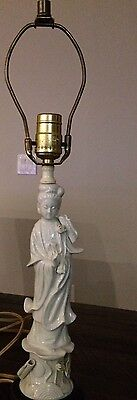 Antique Chinese Blanc de Chine Statue Figurine Lamp on Wood Base