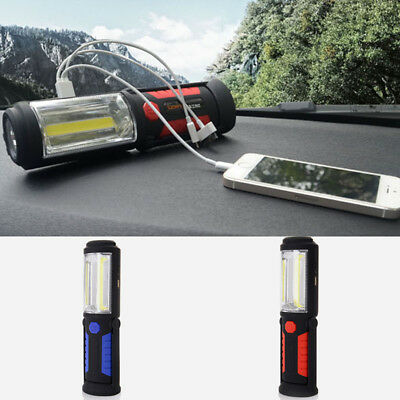 USB Rechargeable 3W COB LED Magnetic Inspection Work Light Emergency Torch Lamp