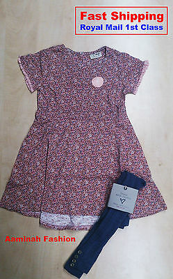 Bnwt Next Girls' Ditsy Dress With Tights 18-24 Months 2-3, 3-4 5-6 Years