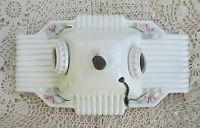 Porcelain Art Deco Wall Sconce Double Light Fixture Cherry Blossom Flowers Chain