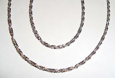 """14k white gold(1.7mm) thick Singapore chain(18""""inch/2.4gr)"""