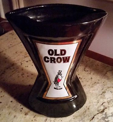 Unique Old Crow Whiskey Straw Holder/Pitcher/Decanter Black 1960's EUC
