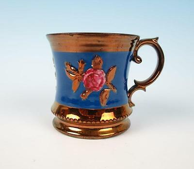 Antique English Copper Lustre Mug w/ Pink Rose Cup Staffordshire Luster Pottery