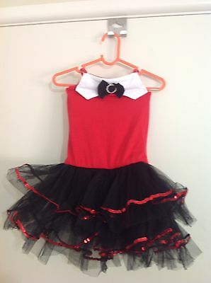 Girls Black And Red Ballet Tutu Jazz Dance Costume Size 4