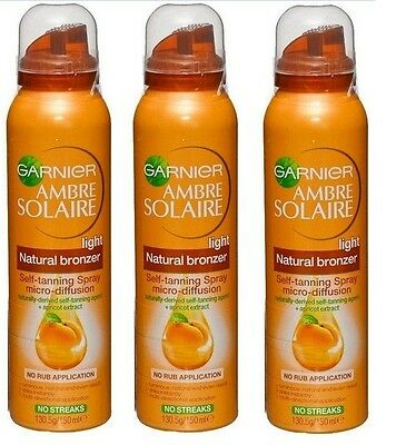 3x GARNIER 150mL AMBRE SOLAIRE NATURAL BRONZER SELF TANNING SPRAY LIGHT / MEDIUM
