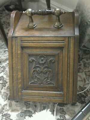 Antique Victorian solid oak and brass coal box