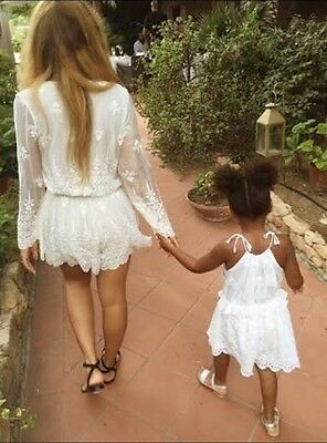 Zimmermann Girls Lucia Gathered Embroidery Playsuit Sz 8 Yrs