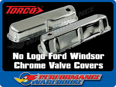 No Logo Ford Windsor 289 302 351W Chrome Steel Valve Rocker Covers Pair