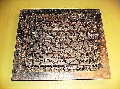 Antique Ornate Cst Iron Heater Grate w/Register Vent Dampers Patent 1885