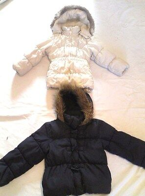 2 x GIRL THICK PADDED WINTER JACKETS SIZE 3-6 YEARS H&M AND MARKS & SPENCERS