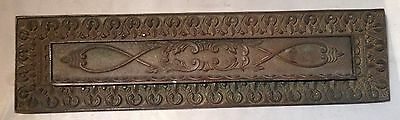 Vintage Brass/Bronze Letter Mail Slot w/ lift door Nice Patina collect use