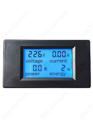 AC 80-260V LCD 100A Volt Watt Power Meter Ammeter Voltmeter 4in1 Multimeter Blue