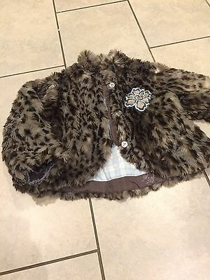 Girls Designer Faux Fur Coat Age 8-9