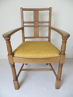 Solid Oak Arts And Crafts Arm Chair Armchair Hall Dining Office Library Kitchen