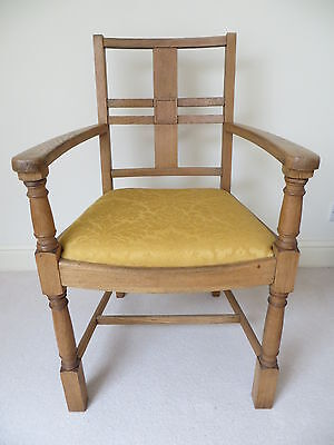 Solid Oak Arts And Crafts Arm Chair Armchair Hall Dining Office Library Kitchen • £89.00