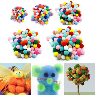 100PCS Soft Fluffy Pom Poms Pompoms Ball Assorted Childrens DIY Crafts 10-30mm