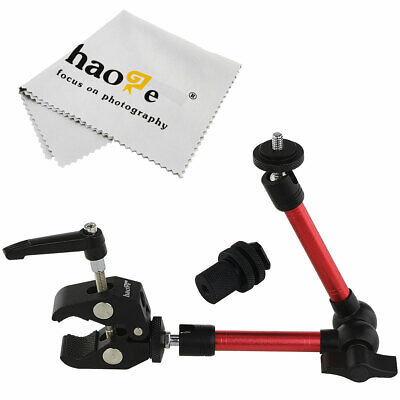 "11"" Inch Articulating Magic Arm + Mini Clamp fr LCD Monitor LED Light Tripod Red"
