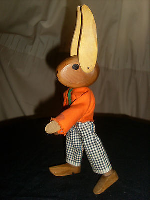 Vintage Articulated Wooden Rabbit Made by Decor