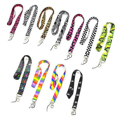 1 Pc Nylon Heart Leopard Zebra Neck Strap Lanyard Keychain Card Key Phone Holder