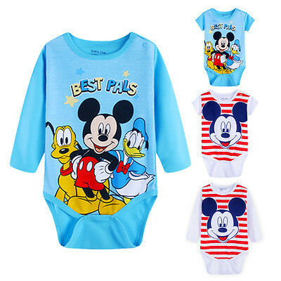 Newborn Infant Baby Boys Girls Mickey Rompers Bodysuit Jumpsuit Clothes Outfits
