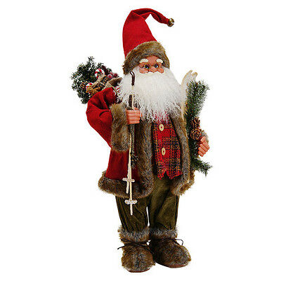 Standing Santa Claus Christmas Home Decoration Skis Figure Office Xmas Gift