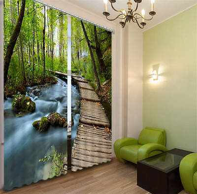 Woods Pathway In Forest 3D Blockout Photo Printing Curtains Draps Fabric Window