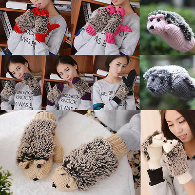 Women Winter Warmer Hedgehog Animal Gloves Knitted Crochet Mittens Gifts Useful