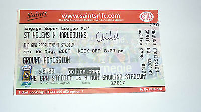 St HELENS v HARLEQUINS 22nd MAY 2009 POLICE COMPLIMENTARY CHILD TICKET