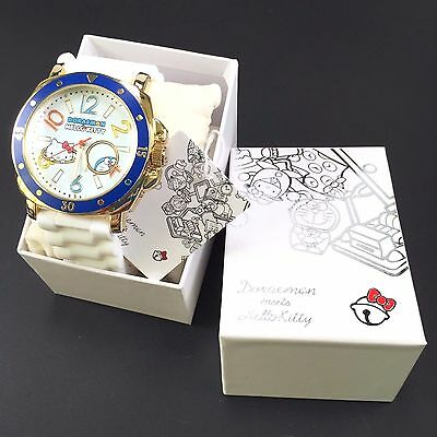 Sanrio Hello Kitty Doraemon SR-F06-W Silicon Belt Wrist Watch White