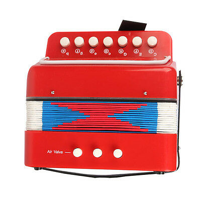 Red 7 Keys Kids Instrument Music Accordion Button Christmas Gift Children Toys