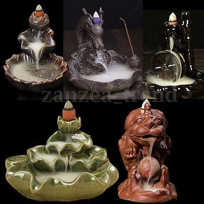 New Ceramic Glaze Incense Smoke Cone Burner Tibet Censer Tower Holder Backflow