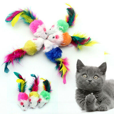 10x Pet Cat Kitten Colorful Plush False Mouse Feather Funny Playing Toy Mice
