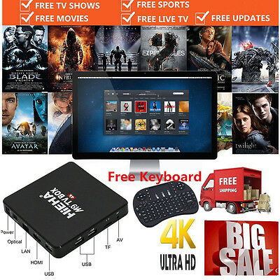 4K Quad Core Android Smart TV Box  HD Fully Loaded XBMC Media streamer Player UK