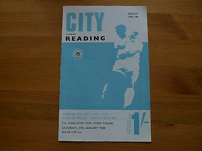 MANCHESTER CITY v READING 1967-68 FA CUP FOOTBALL PROGRAMME
