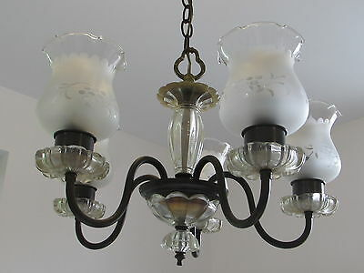 1950's  Five Arm Glass & Black Steel Tubing Chandelier Frosted Shades