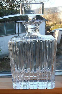 Vintage contemporary cut glass crystal oblong shaped decanter