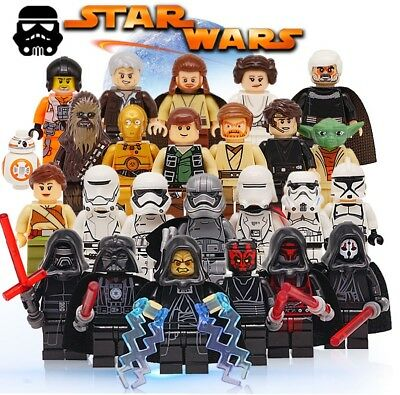 Mini figure Star Wars Luke Kylo Ren Rey Darth Vader yoda fits lego starwars