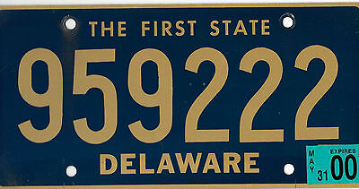 2000 Delaware The First State License Plate # 959 222 Triple 222 Bcplateman
