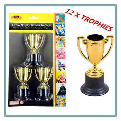 12 X Mini Small Novelty Party Gold Trophies - Birthday Party, Event, Olympic Fw
