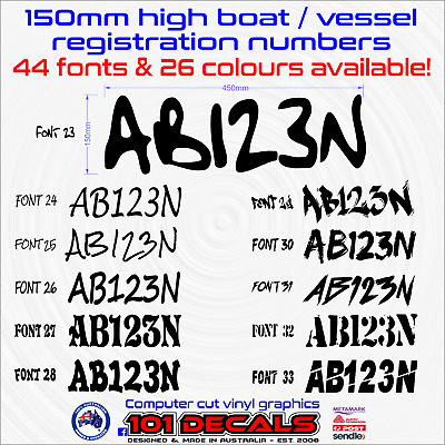 2x150mm Fishing Boat REGISTRATION rego numbers lettering marine grade decals