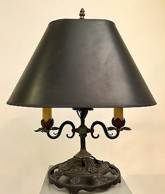 Exquisite 1920s Spanish Revival Hand Painted Wrought Iron Table Lamp--Excellent!