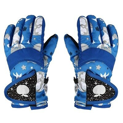 Kids Winter Outdoor Ski Snowboard Thick Warm Children Finger Gloves L Blue #U