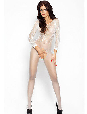 White Crotch-less Floral & Sheer Fishnet Body Stockings Size UK 8-12