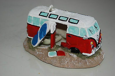 Aquarium Old VW Camper Van Red Decoration 15.5 x 9.5 x 8 cms