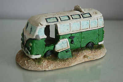 Aquarium VW Camper Van Bright Green Decoration 15.5 x 9.5 x 8 cms