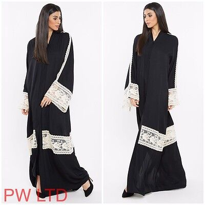 VINTAGE Dubai Style Abaya Maxi Dress Farasha Jalabiya Modest Wear Full Sleeve
