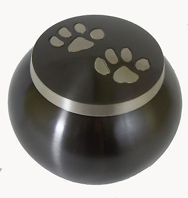 "Pet Ashes Urn Medium, 4"" Odyssey Paw Print, Dog, Cat Urn for Funeral Memorial"